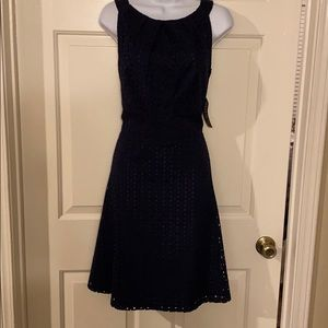 NY&Co Navy Eyelet Embroidery Dress size 10 NWT